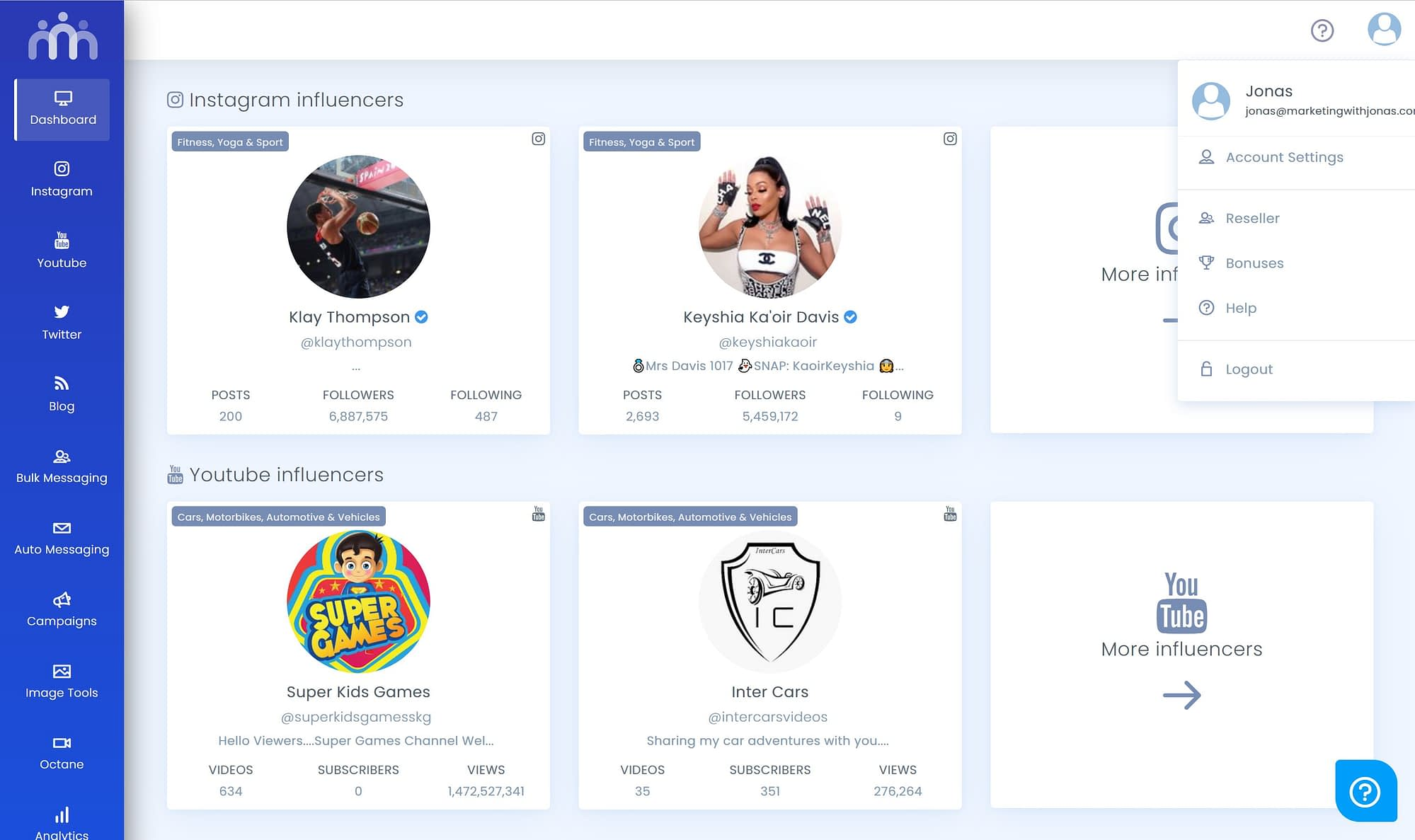 Influencers Hub Dashboard